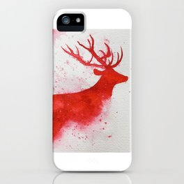 Christmas red deer watercolour painting iPhone Case