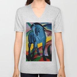 Colorful Blue Horse Friesian portrait horses painting by Franz Marc Unisex V-Neck