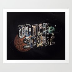 Greetings From outer Space (color 02) Art Print