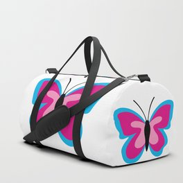 Blue Pink Butterfly - White Background Duffle Bag