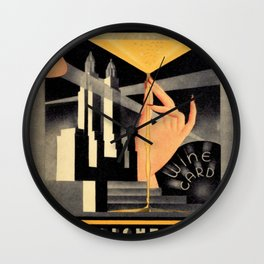 1930's Waldorf Astoria Hotel NYC The Starlight Roof, Champagne Wine Card Vintage Poster Wall Clock