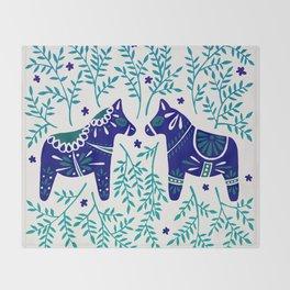 Swedish Dala Horses – Navy & Blue Palette Throw Blanket
