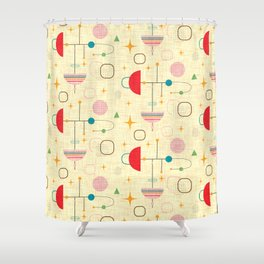 Atomic pattern umbrellas   #midcenturymodern Shower Curtain