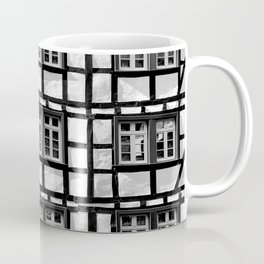 Black and white medieval street scene Coffee Mug
