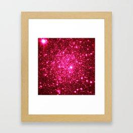 Hot Pink Glitter Galaxy Stars Framed Art Print