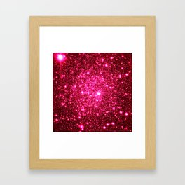 Hot Pink Glitter Galaxy Stars Framed Art Print
