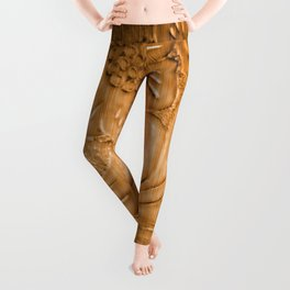 Golden Tan Tooled Leather Leggings