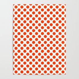 Orange and white polka dots pattern Poster