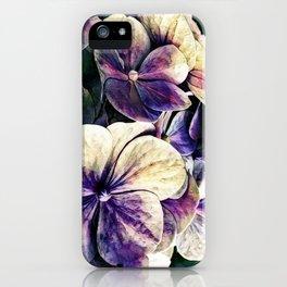 Hortensia flowers in vintage grunge watercoloring style iPhone Case