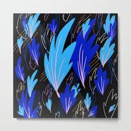 Blue Abstract Fern Metal Print
