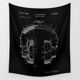 Headphones Patent - White on Black Wall Tapestry