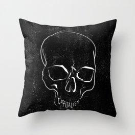 Anti Capitalism Black Skull Political Art Print Throw Pillow
