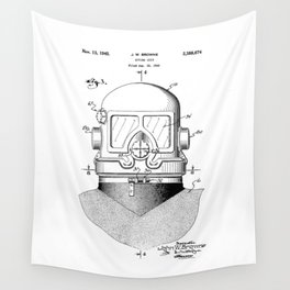 patent art Browne 1945 Diving suit Wall Tapestry