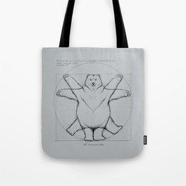 Vitruvian Bear Grey Tote Bag