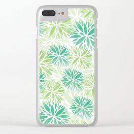 Pom Floral Green Clear iPhone Case