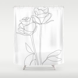 Two Minimal Roses Shower Curtain