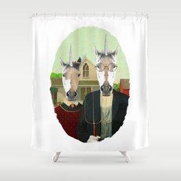 American Gothic Unicorn Shower Curtain
