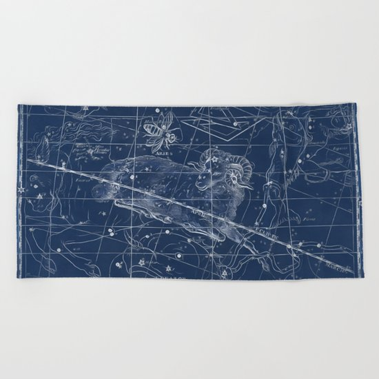 Aries sky star map Beach Towel