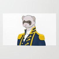 ferret Area & Throw Rugs featuring Captain Ferret by Szilárd A Legjobb