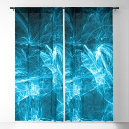 Ice-Blue Crystalized Clouds: Fractal Art of Fantasy Blackout Curtain