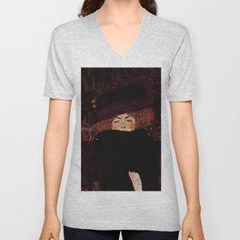 """Gustav Klimt """"Lady with Hat and Feather Boa"""" Unisex V-Neck"""