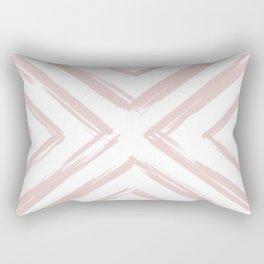 Minimalistic Rose Gold Paint Brush Triangle Diamond Pattern Rectangular Pillow