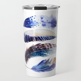 four feathers in blue Travel Mug