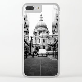 St Paul's Cathedral London Black and white Clear iPhone Case