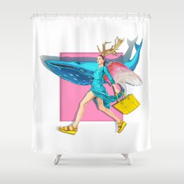 Angel and blue whale Shower Curtain