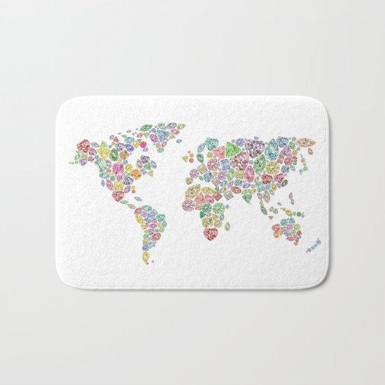 Diamonds World Map #3 Bath Mat