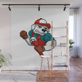 dog plumber holding a big wrench Wall Mural