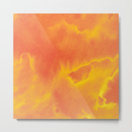 Watercolor texture - yellow and orange Metal Print