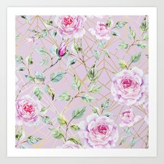 Roses with gold geometric pattern Art Print