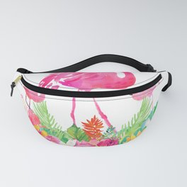 Pink flamingos & tropical flowers Fanny Pack