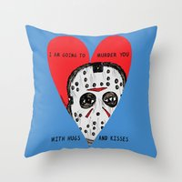 dramatical murder Throw Pillows featuring Murder Love by JARHUMOR