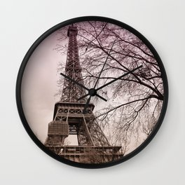 Eifel Tower in pink Wall Clock