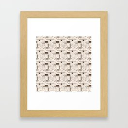 Intersecting Lines in Cream, Tan and Brown Framed Art Print