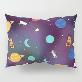 """""""Cats from outer space!"""" Galaxy Print Pillow Sham"""
