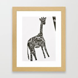 Giraffe drawing Framed Art Print