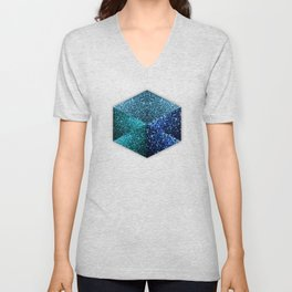Aqua blue sparkles diamond geometric hexagon Unisex V-Neck