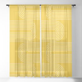 Geometric Lines in Mustard Yellow (Rainbow Abstraction) Sheer Curtain