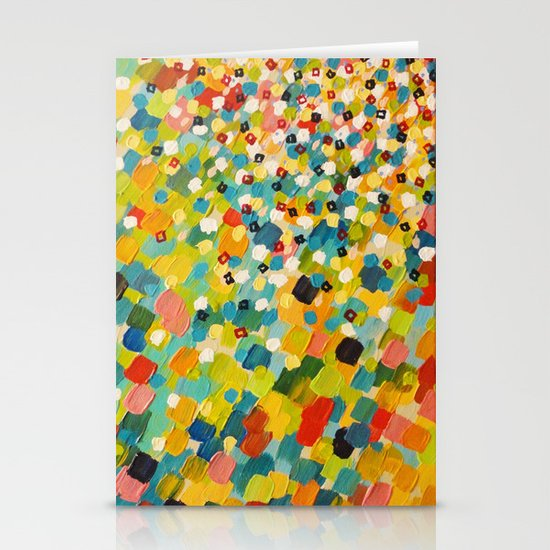 SWEPT AWAY 3 - Fresh Green Colorful Rainbow Ocean Waves Mermaid Splash Abstract Acrylic Painting Stationery Cards