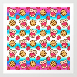 Cute funny sweet adorable happy Kawaii toast with raspberry jam and butter, chocolate chip cookies, red ripe summer strawberries cartoon fantasy white blue pattern design Art Print