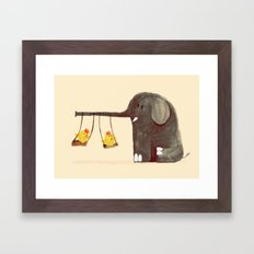 Elephant Swing Framed Art Print