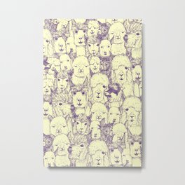 just alpacas purple cream Metal Print