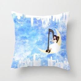 Harp girl 5: Connection Throw Pillow
