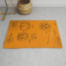 1907 Halloween Patent Jack O' Lantern Orange Rug