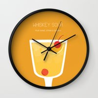 alcohol Wall Clocks featuring Whiskey Sour - Alcohol by Stacia Elizabeth