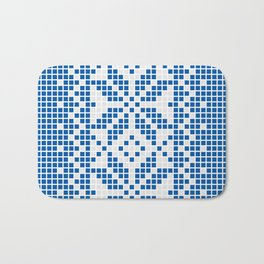 Blue & White Ethnic Pattern Bath Mat