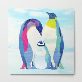 Peter, Wendy & Tink the Penguins Metal Print